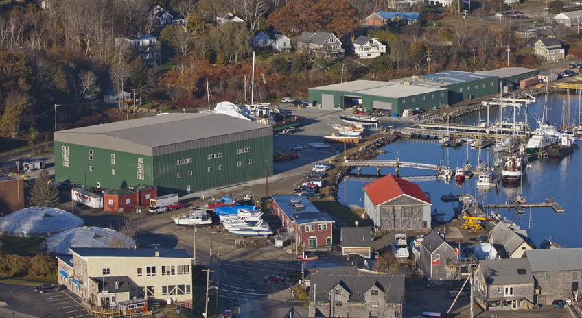 Front Street Shipyard construction in Belfast, Maine.