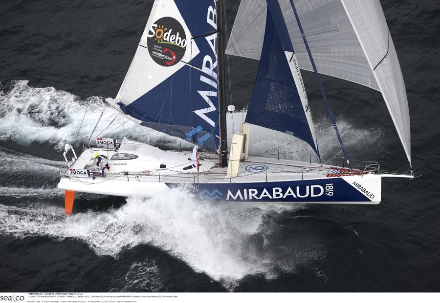 """""""MIRABAUD""""  Monohull IMOCA 60, skipper Dominique Wavre (SUi)"""